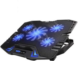 TopMate C5 10-15.6 inch Gaming Laptop Cooler Cooling Pad, 5 Quiet Fans and LCD Screen, 5 Heights Adjustment, 2 USB Port and Blue LED Light Roll over image to zoom in TopMate C5 10-15.6 inch Gaming Laptop Cooler Cooling Pad